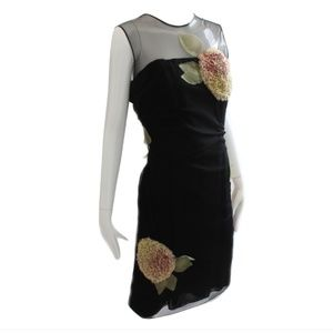 Bill Blass Black Cocktail Dress Sculptural Florals